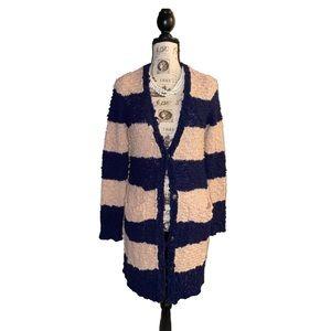 Free people HoBo fuzzy knit long striped cardigan
